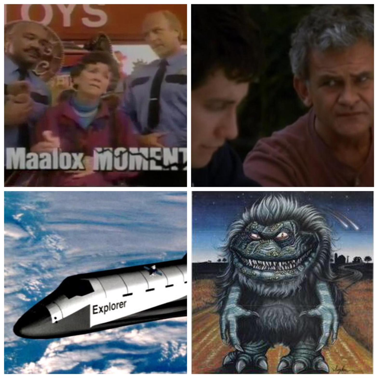 Screenshots of the Maalox Moment commercials, Donnie Darko, a CGI space shuttle, and the critters from the movie Critters.