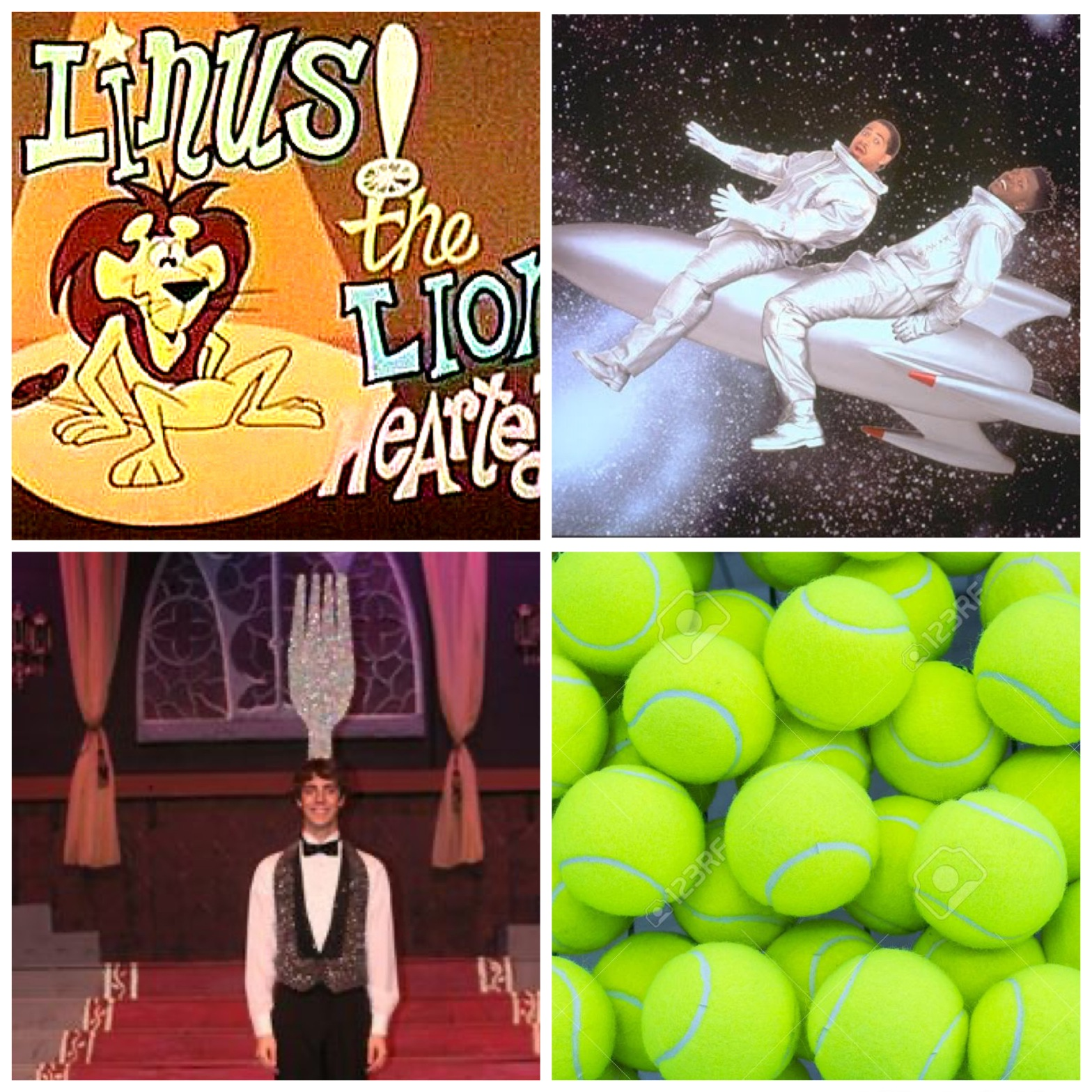 Linus the Lionhearted, Homeboys in Outer Space, a dancing fork, and tennis balls. This will all make sense if you listen to the podcast episode.