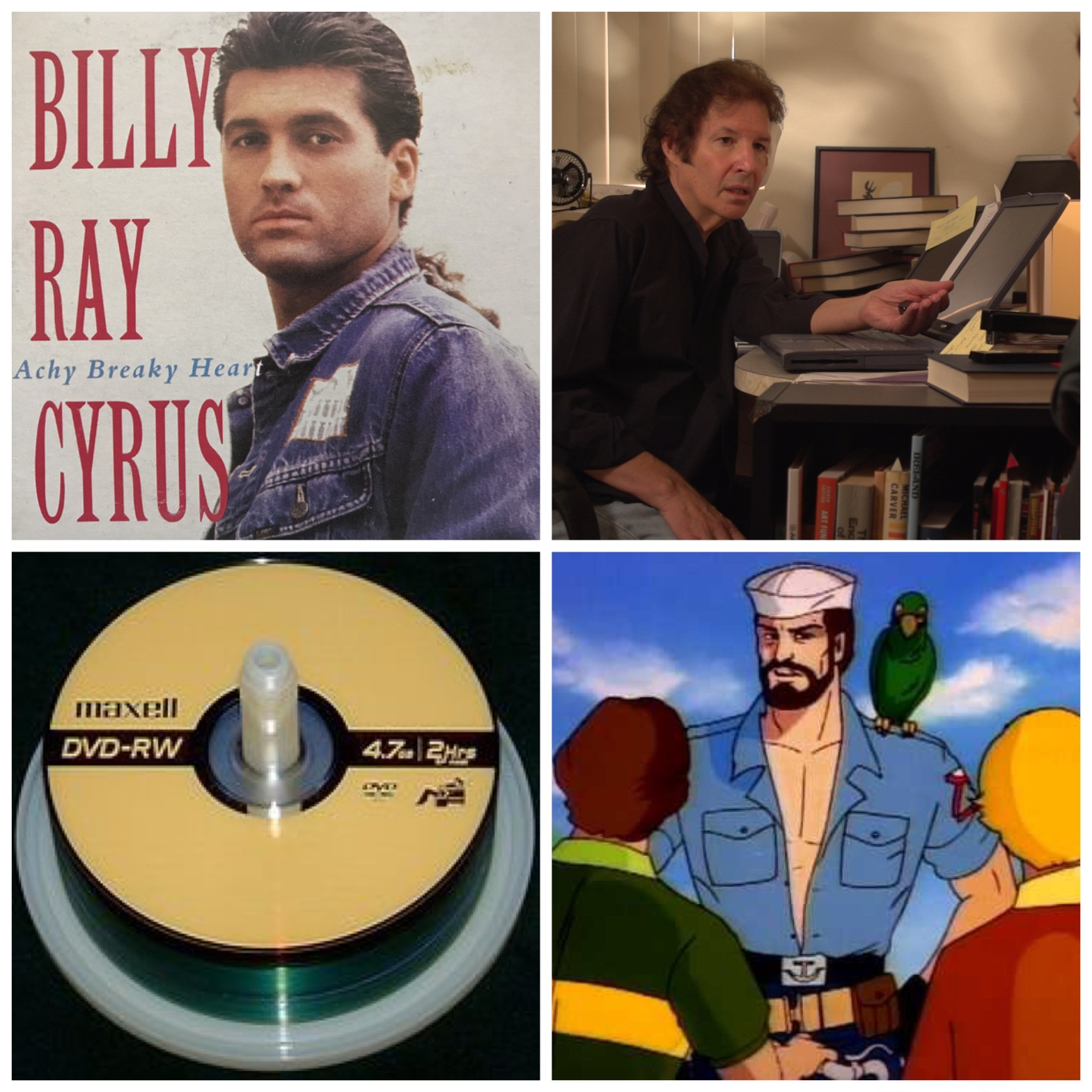 "The cover art for Billy Ray Cyrus's single ""Achy Breaky Heart."" Neil Breen at an old laptop. A stack of DVD-RWs. And the sailor G.I. Joe from the fake PSAs. All this will make sense when you listen to our podcast about Episode 205 of Family Matters."