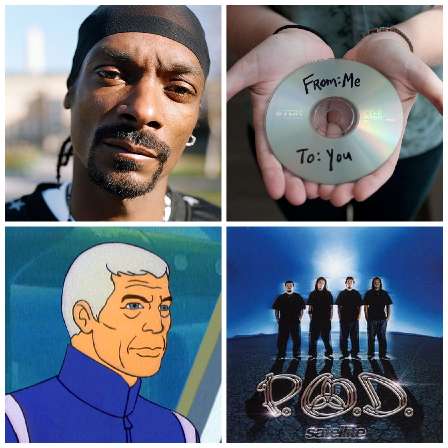 Snoop Dogg. Mix CDs. Captain Murphy from Sealab 2021. The band POD.
