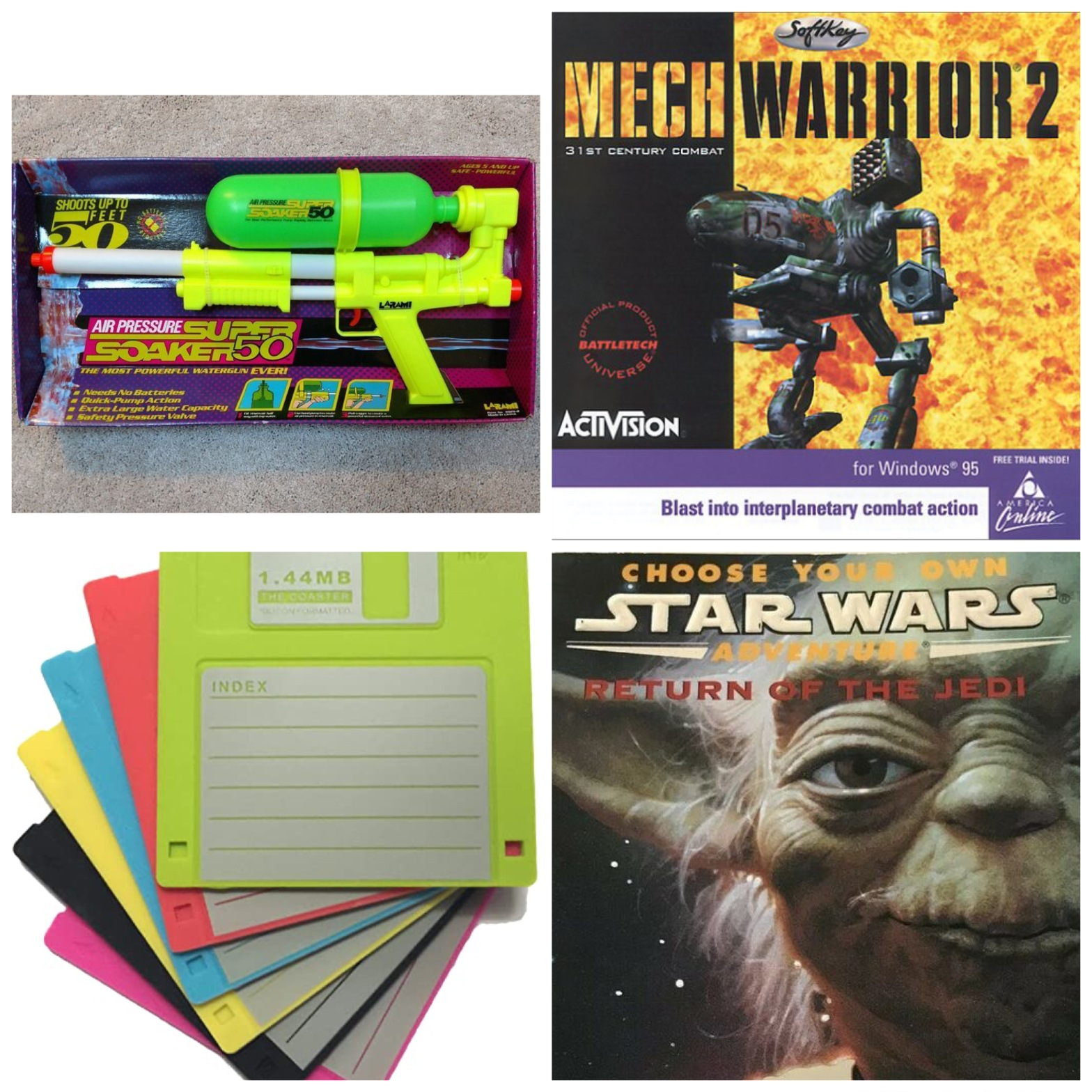 A Super Soaker, CD art for MechWarrior 2, floppy disks, and Return Of The Jedi Choose-Your-Own-Adventure book. All this will make sense when you listen to this week's episode.