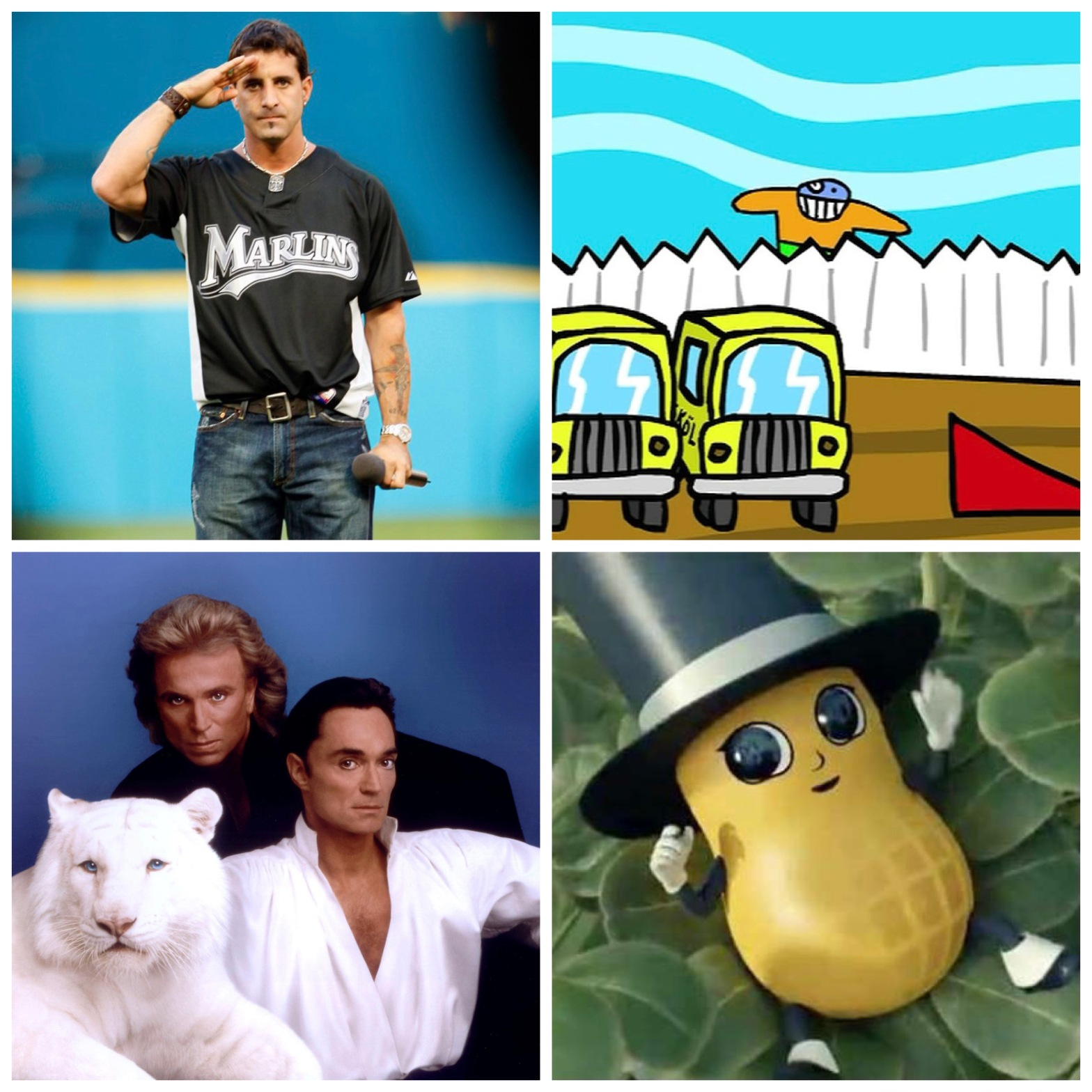 Scott Stapp in Marlins gear. Bubs from HomestarRunner-dot-com with some buses. Siegfriend and Roy. And Mr. Peanut's demon child.