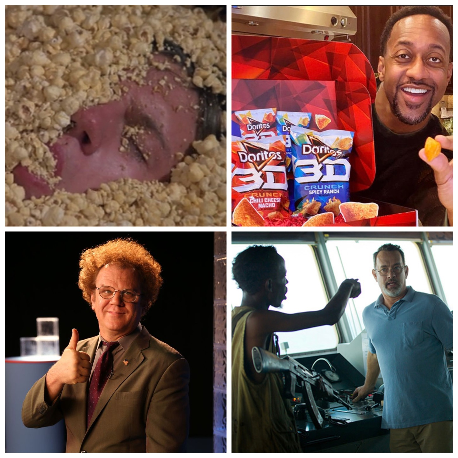 The popcorn scene from Troll 2. Jaleel White hocking chips. Dr. Steve Brule. I'm the Captain now.