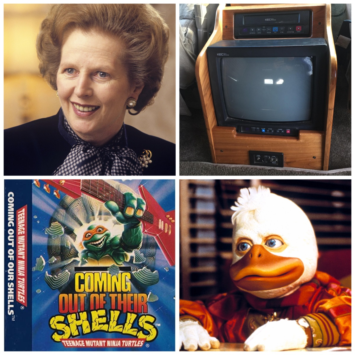 Margaret Thatcher, a Mini Van VHS player, Teenage Mutant Ninja Turtles Coming Out Of Their Shells, Howard The Duck.