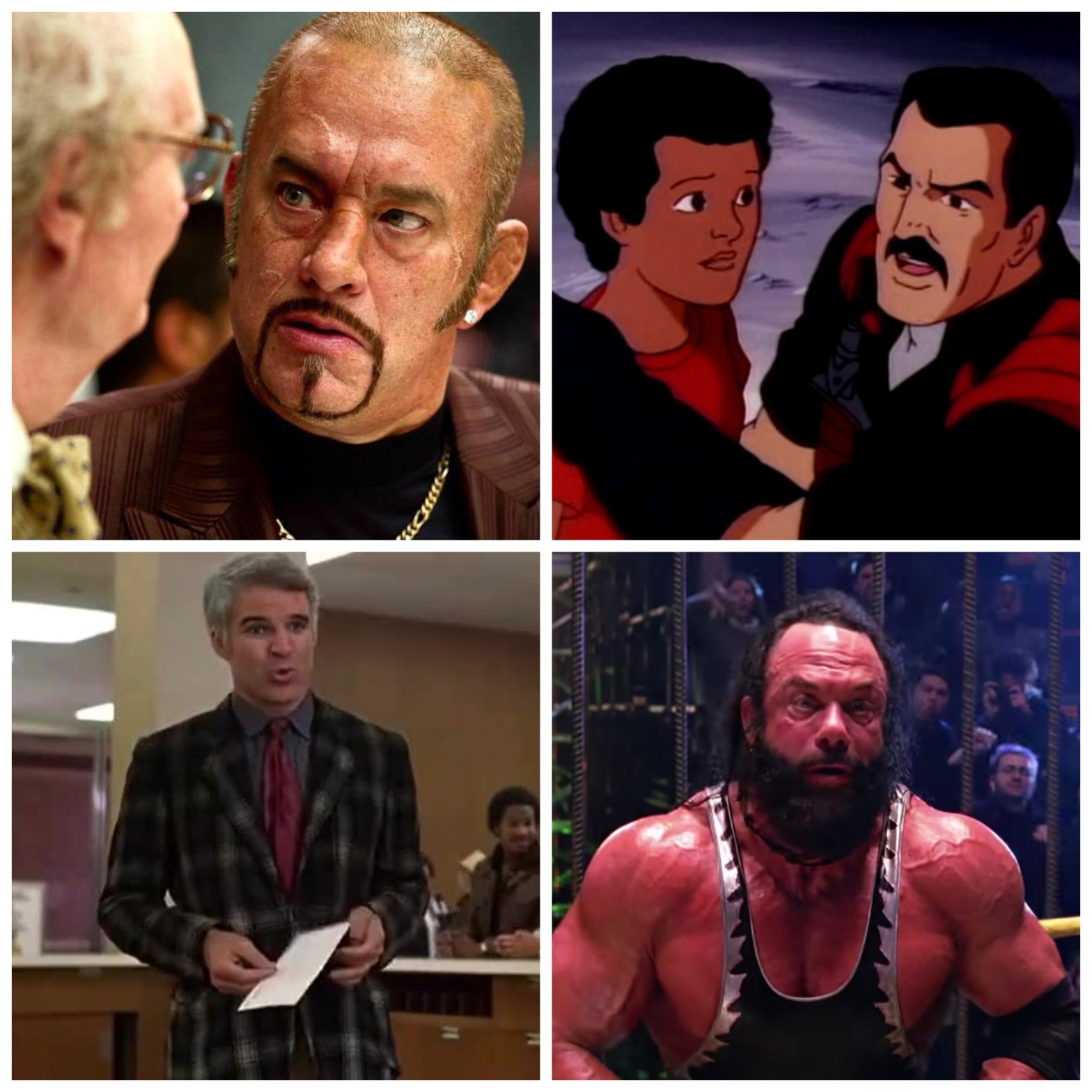 Tom Hanks in Cloud Atlas, Help Computer from Fensler Films' G.I. Joe parodies, Steve Martin from The Jerk, and Macho Man Randy Savage from Sam Raimi's Spider-Man.