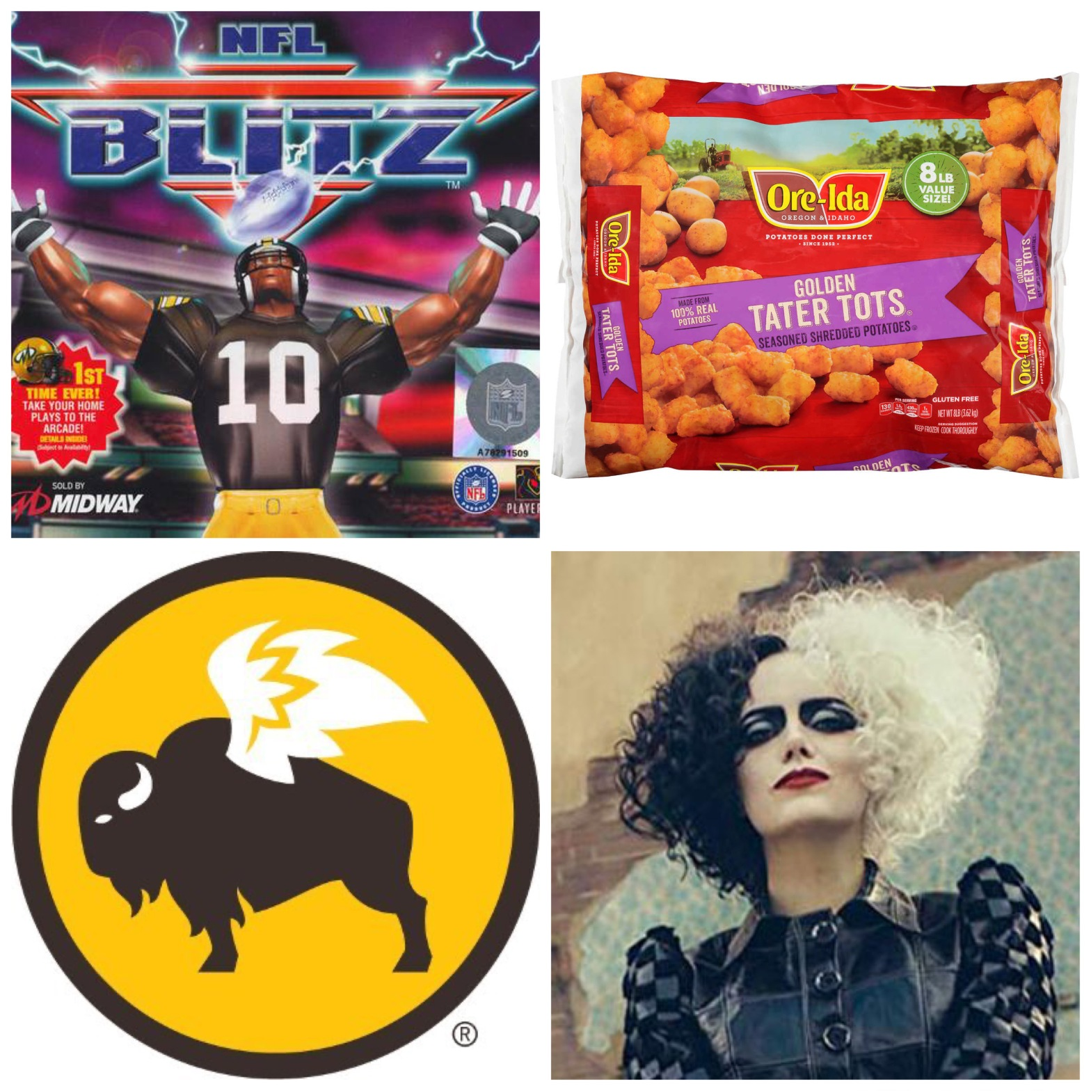 NFL Blitz, frozen tater tots, Buffalo Wild Wings, and Emma Stone's Cruella.