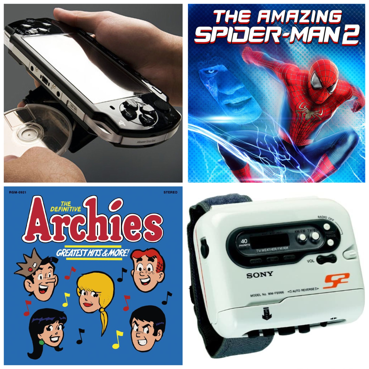A Sony PSP, The Amazing Spider-Man 2, The Archies, and a Sony Walkman.