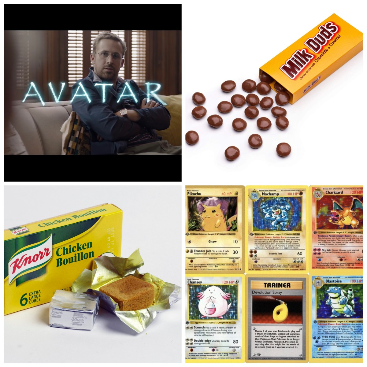 Ryan Gosling in the Avatar Papyrus SNL sketch, Milk Duds, bouillon cubes, and Pokemon cards.
