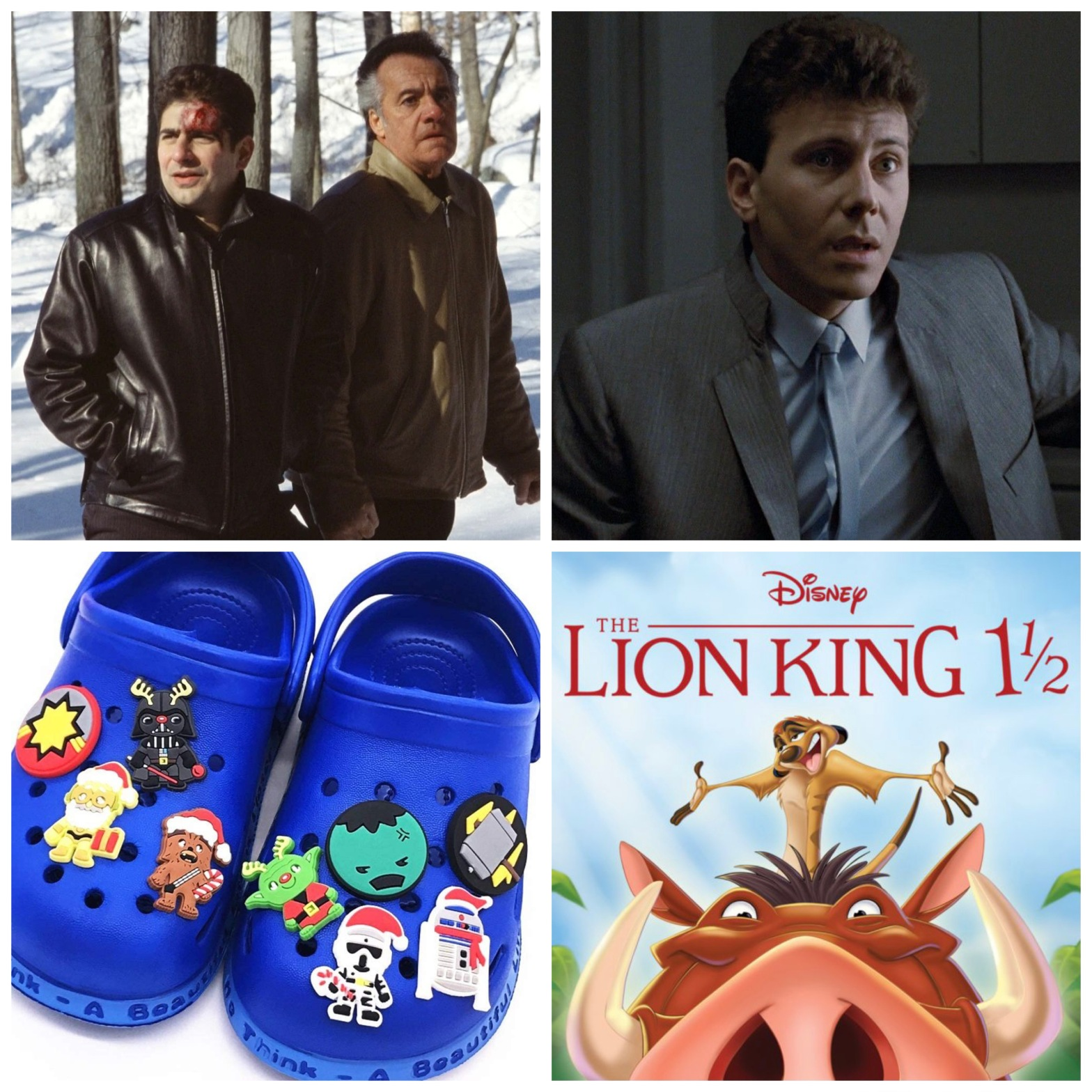 The Sopranos episode Pine Barrens, Paul Resier in Aliens, Croc Charms, and The Lion King 1 1/2.