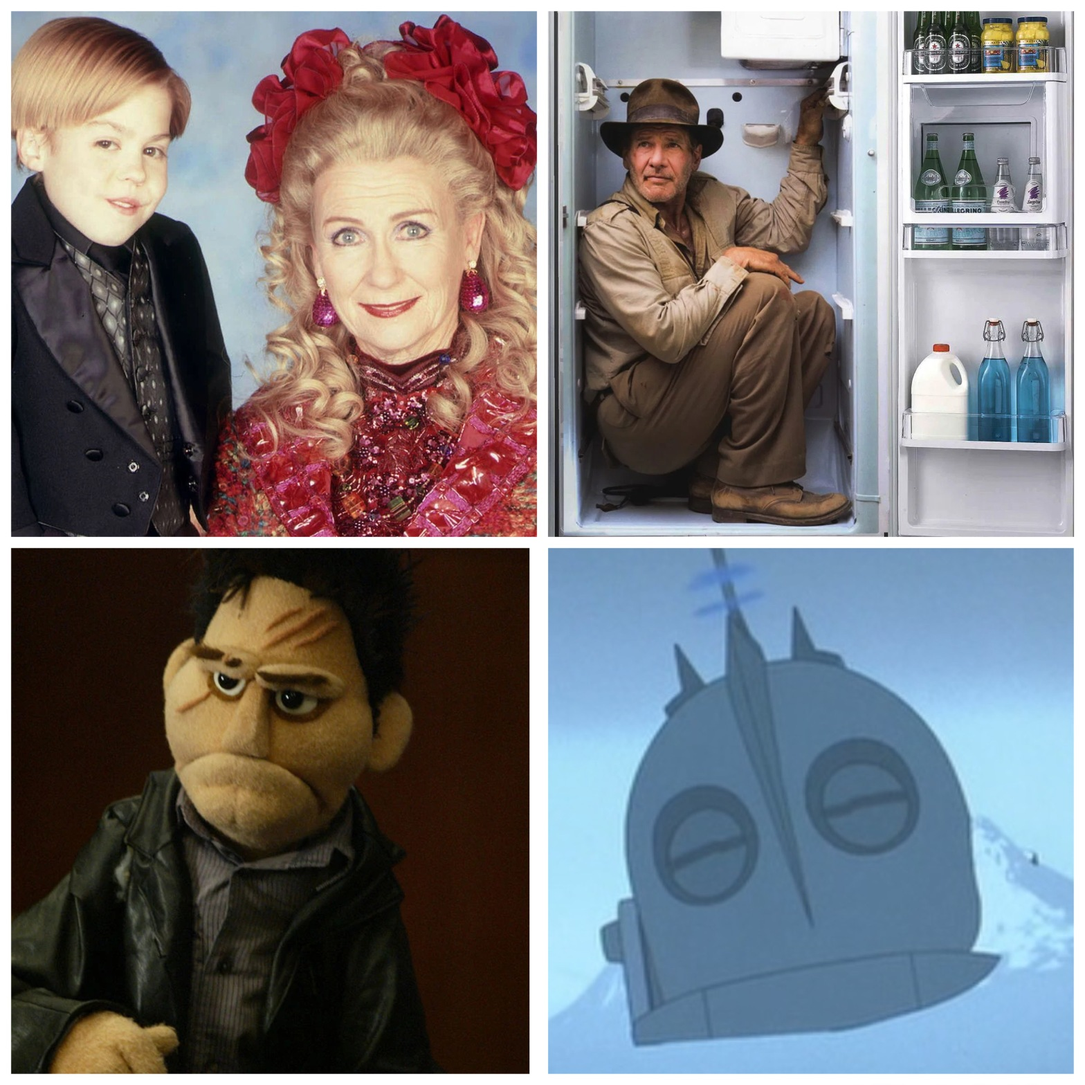 """Joshua Ryan Evans in Passions, Harrison Ford in a refrigerator, an Angel puppet from """"Smile Time,"""" and the Iron Giant."""