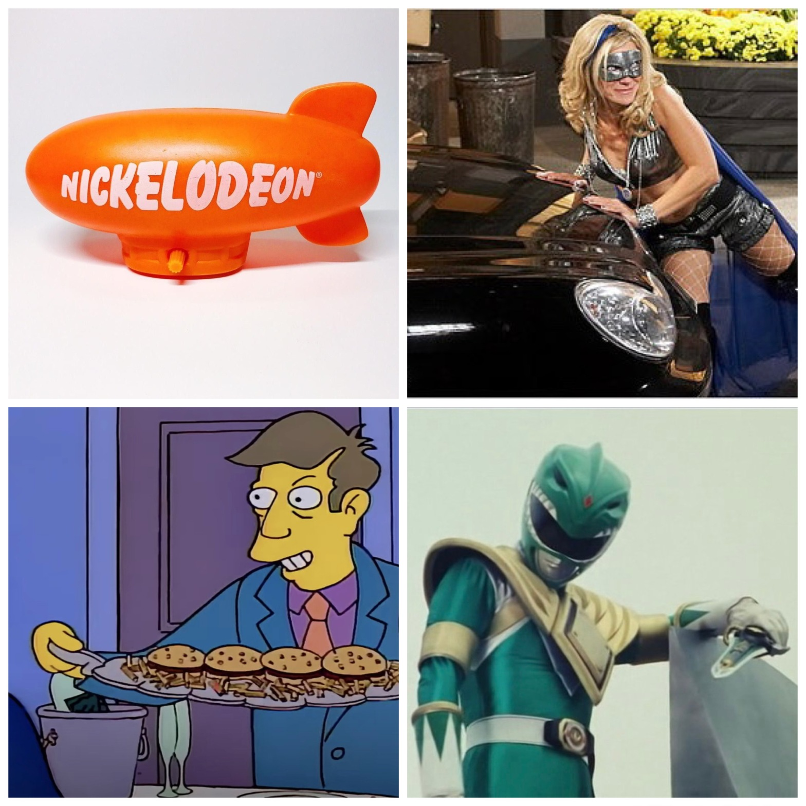 A Nickelodeon Kids' Choice Award blimp, the Guiding Light/Marvel Comics crossover, steamed hams from The Simpsons, and Tommy Oliver from Power Rangers.