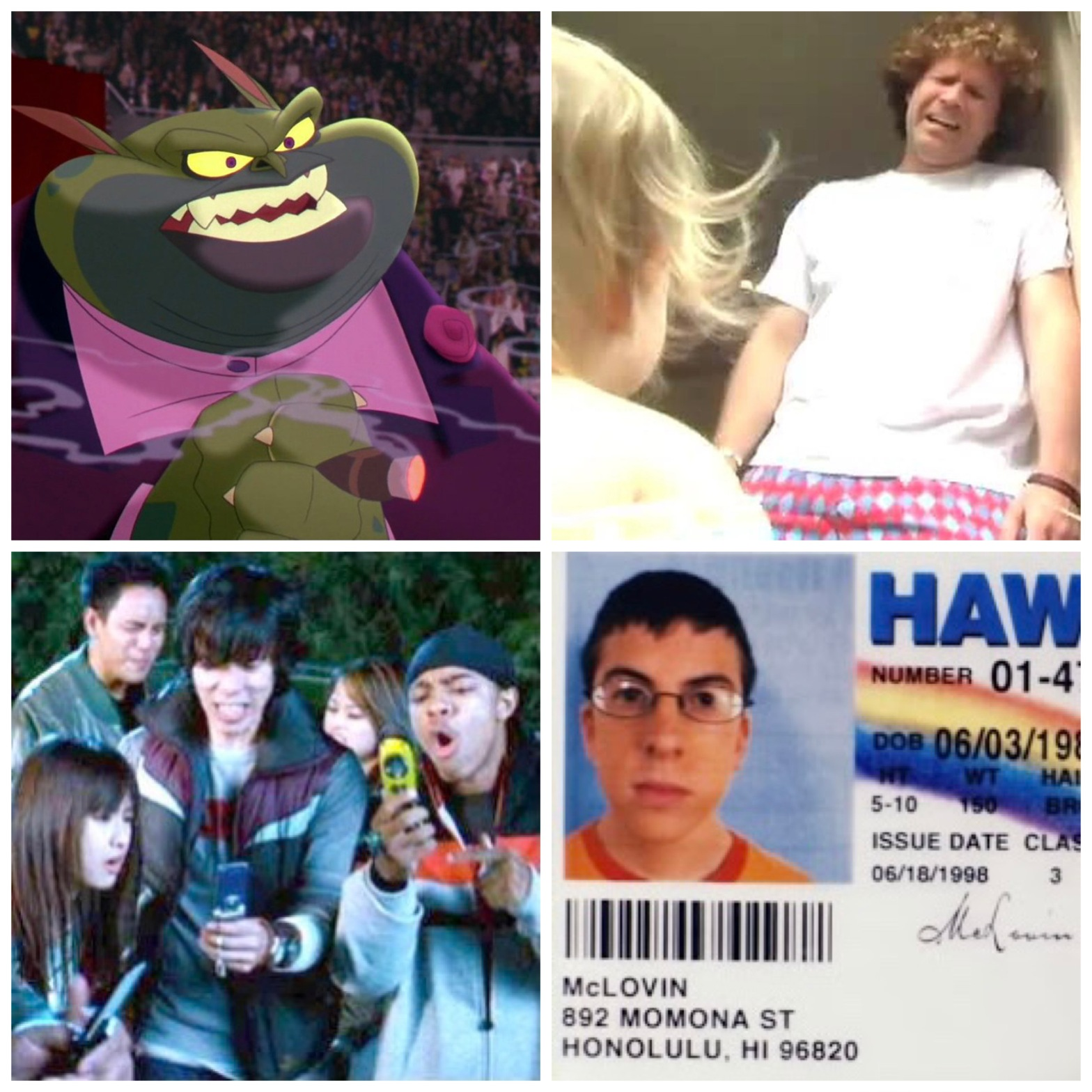 Danny DeVito's character from Space Jam, Will Ferrell in The Landlord, flip phones in The Fast and the Furious: Tokyo Drift, and McLovin's drivers license in Superbad.