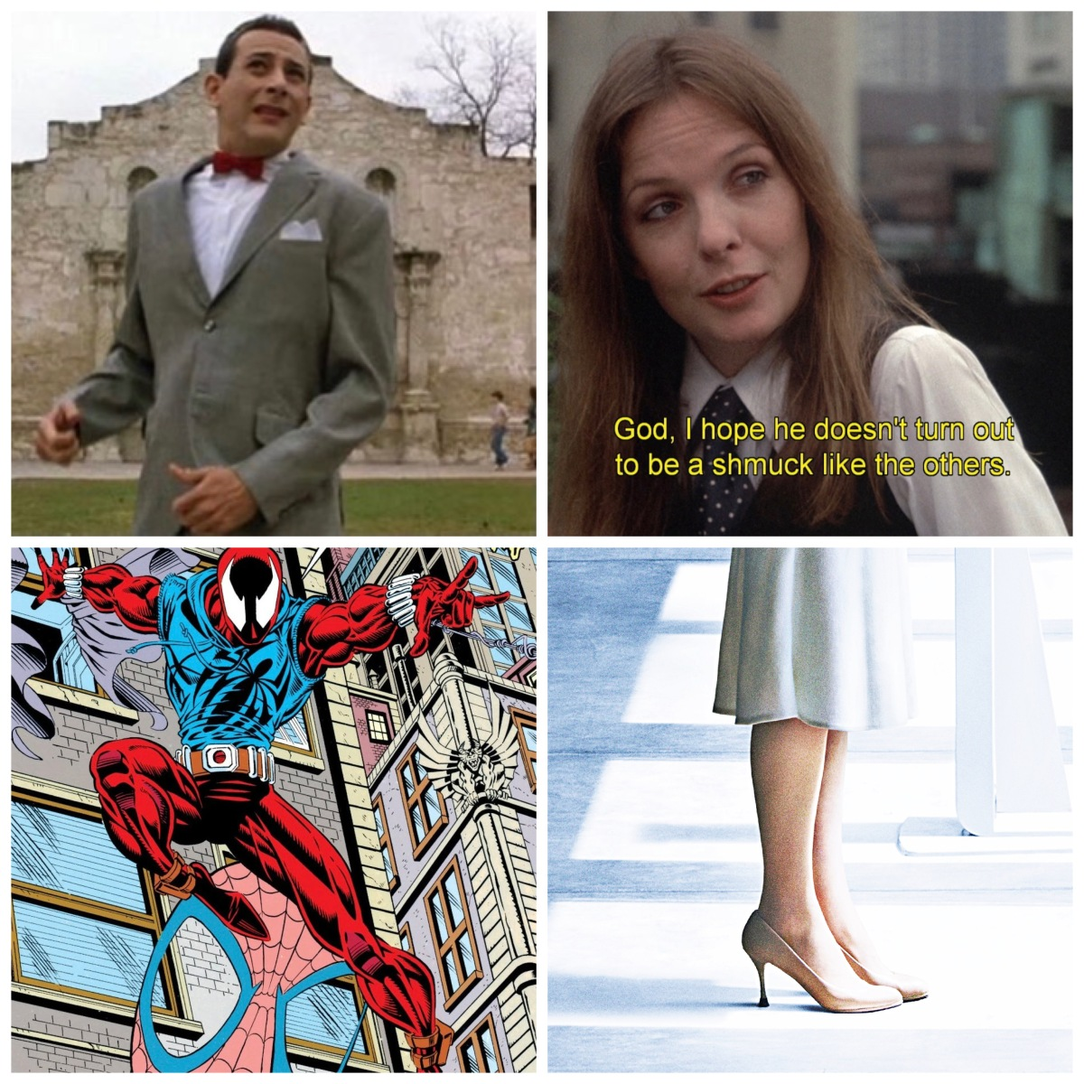 Pee-Wee Herman at the Alamo, subtitles in Annie Hall, Marvel's Ben Reilly, and Bryce Dallas Howard's heels from Jurassic World.