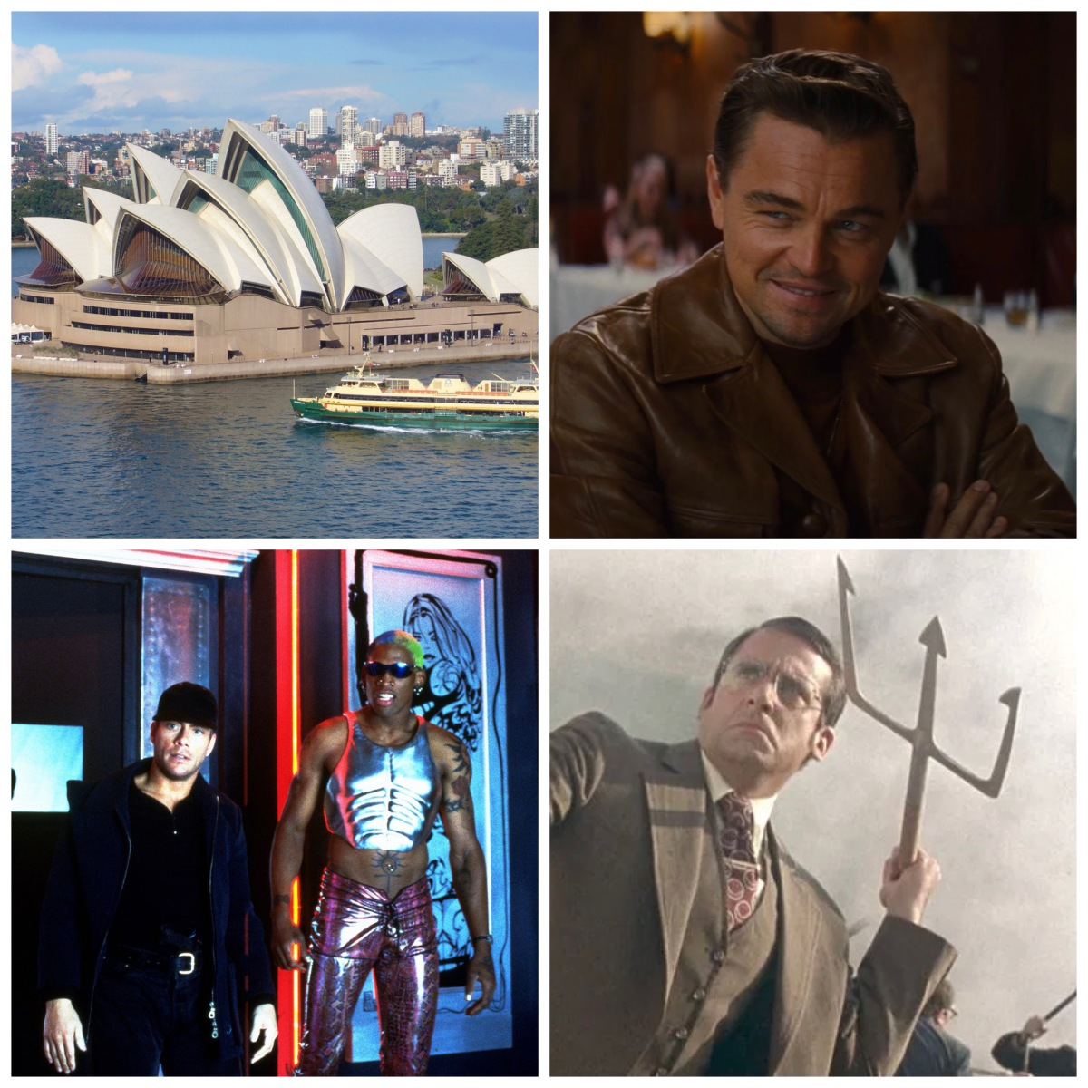 The Sydney Opera House, Leonardo DiCaprio in Once Upon A Time In Hollywood, JCVD and Dennis Rodman in Double Team, and Steve Carell in Anchorman.