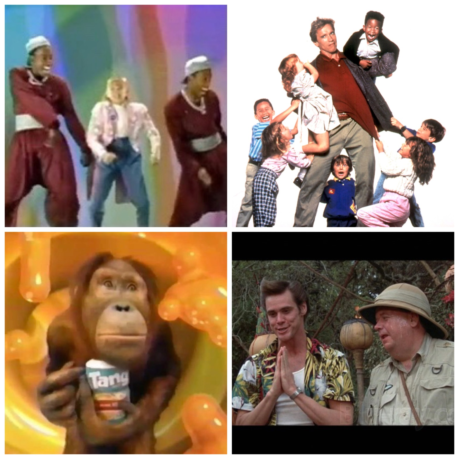 The intro from Disney's Adventures In Wonderland, Kindergarten Cop, the Tang monkey, and Ace Ventura: When Nature Calls.