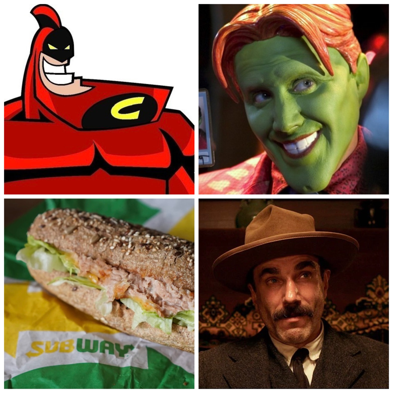 """Jay Leno's Crimson Chin, Jamie Kennedy's Son of the Mask, Subway's """"tuna"""" sandwich, and Daniel Day-Lewis in There Will Be Blood."""