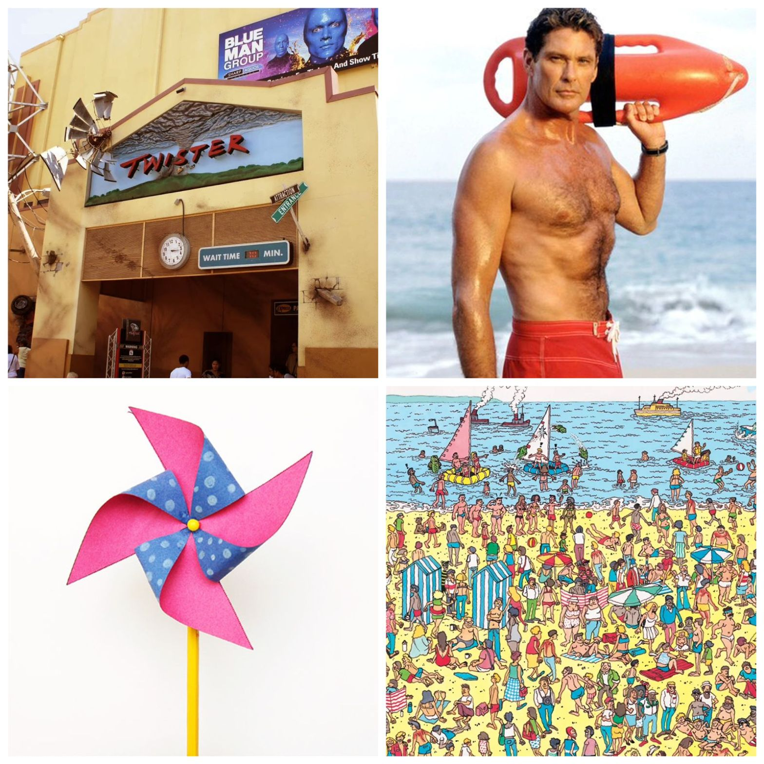 Twister - the attraction. David Hasselhoff shirtless. A pinwheel. And a Where's Waldo page.