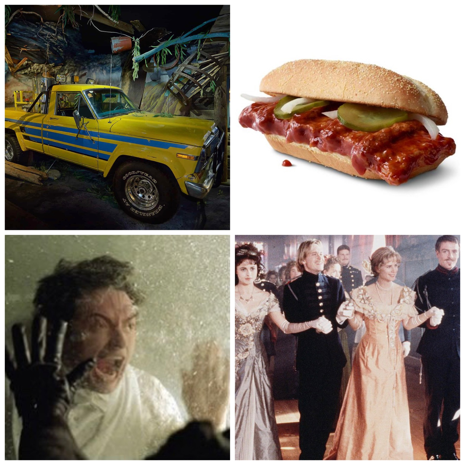 The Dodge Ram from Twister, The McRib, Hugh Jackman in The Prestige, and the double wedding from Twelfth Night.