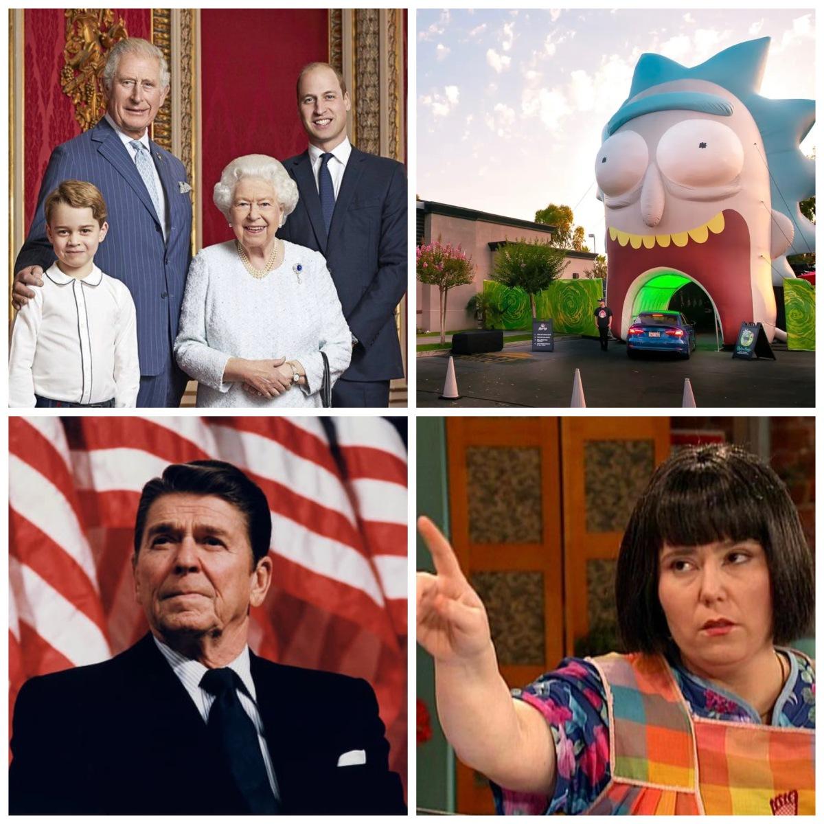 The British Royal Family, Rick and Morty at Wendy's, Ronald Reagan, and Mad TV's Ms. Swan.