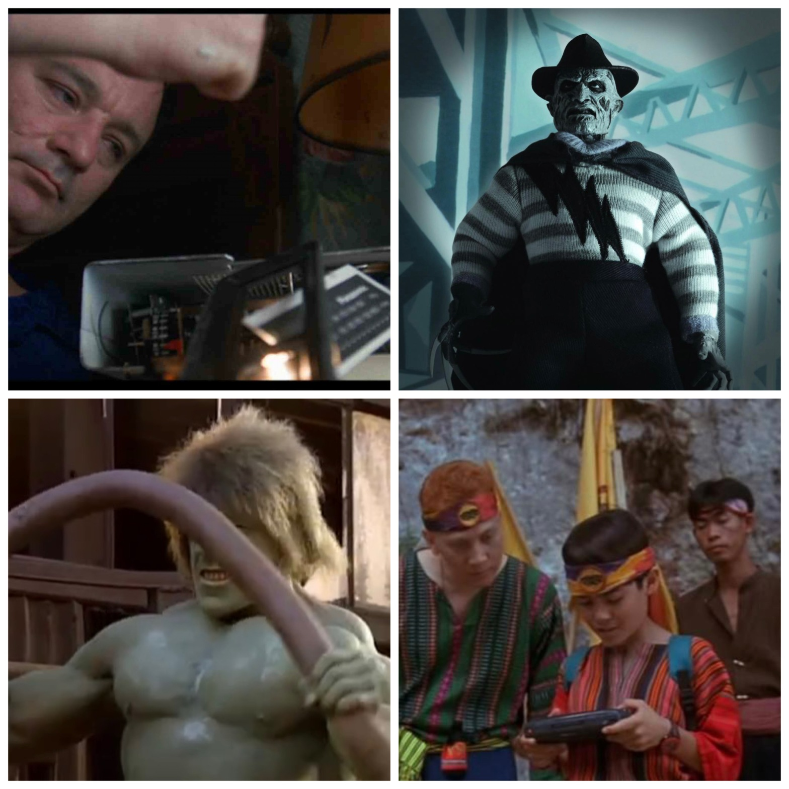 Bill Murray in Groundhog Day, Super Freddy from A Nightmare on Elm Street 5: The Dream Child, Lou Ferrigno as the Incredible Hulk, and a Sega Game Gear from Surf Ninjas.