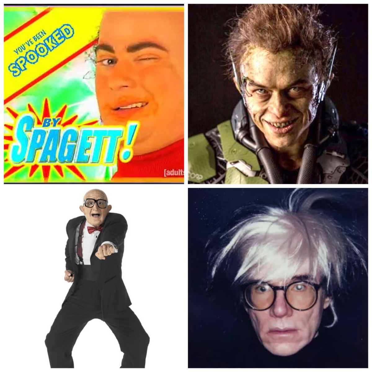 Spagett, Dane Dehaan's Green Goblin, Mr. Six, and Andy Warhol.